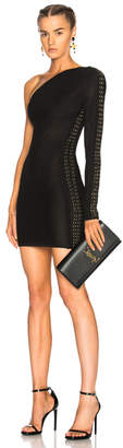 Balmain Lace Up One Shoulder Mini Dress