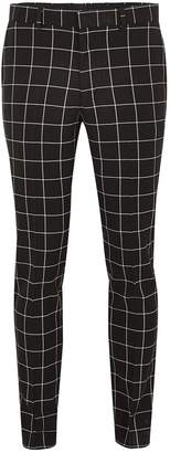 Topman Black And White Windowpane Check Skinny Suit Trousers