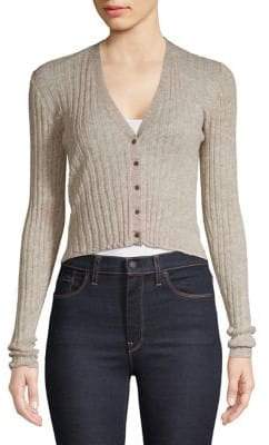 Theory Wide Rib Wool-Blend Cropped Cardigan