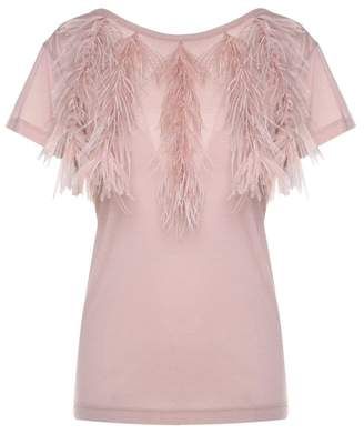 N°21 N.21 Ostrich-feather Embellished Cotton-jersey T-shirt