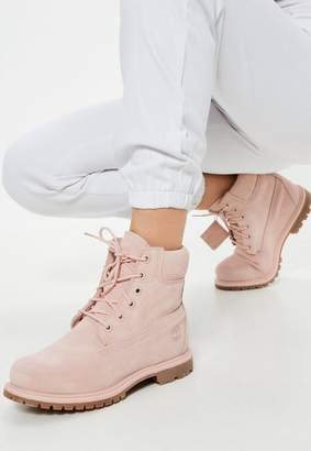 Missguided Timberland Pink 6Inch Premium Suede Boots