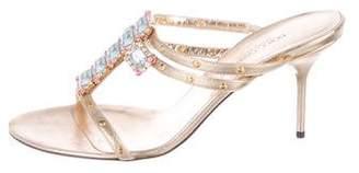 Dolce & Gabbana Embellished Leather Slide Sandals