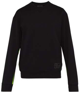 Prada Logo Print Cotton Sweatshirt - Mens - Black Multi
