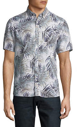 Black Brown 1826 Leaf-Print Linen Sport Shirt
