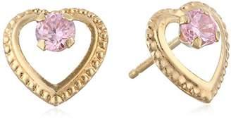 Disney 14k Beaded Heart Pink Earrings