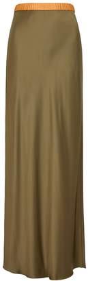 Helmut Lang Olive Satin Midi Skirt