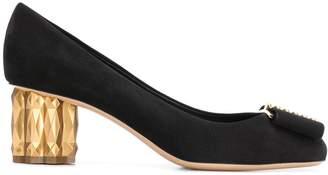 Salvatore Ferragamo metallic heel pumps