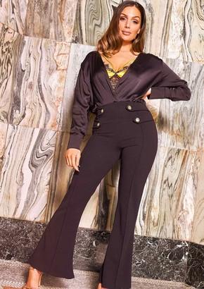 c22223a4fe6d7c Missy Empire Missyempire Scarlett Black Button High Waist Flare Trousers