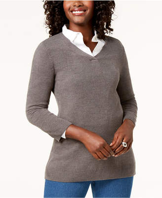 Karen Scott Petite V-Neck Sweater, Created for Macy's