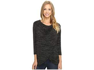 Mod-o-doc Space Dye Rayon Spandex Jersey Cowl Neck Crossover Tee Women's T Shirt
