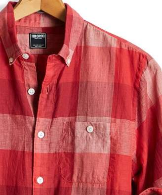 Todd Snyder Summerweight Buffalo Check Button Down Shirt in Red