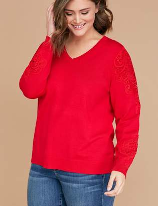 Lane Bryant Lace-Shoulder Sweater