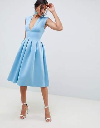Asos Design DESIGN scuba seamed open back midi prom dress