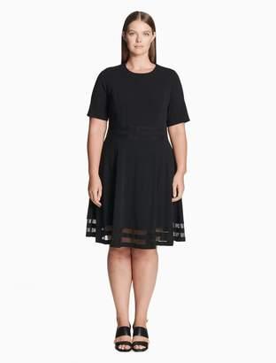 Calvin Klein plus size illusion short sleeve fit + flare dress