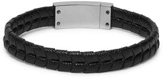 Prada Woven Saffiano Leather And Silver-Plated Bracelet