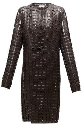 Bottega Veneta Single Breasted Woven Leather Coat - Womens - Dark Brown