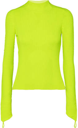 Adam Selman Sport - Neon Ribbed-knit Turtleneck Top - Chartreuse