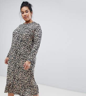e78e992d37 Daisy Street Plus midaxi smock dress in leopard print