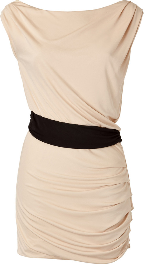 Halston Beige and Black Colorblock Waist Dress