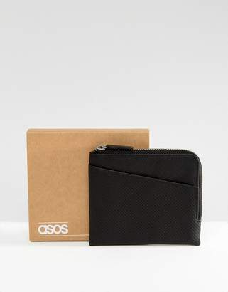 Asos DESIGN leather zip around wallet in black with cardholder front in perforated design