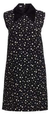 Miu Miu Paiette Star-Print Collared Shift Dress
