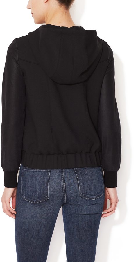 Helmut Lang Hooded Jacket with Suede Sleeves