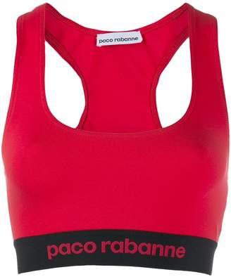 Paco Rabanne logo print sports bra