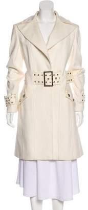 Versace Belted Notch-Lapel Coat