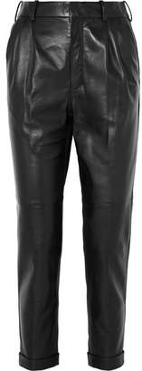 Saint Laurent Leather Straight-leg Pants - Black