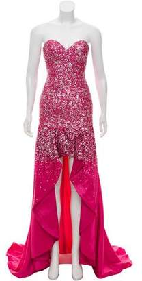 Terani Couture Embellished High-Low Gown w/ Tags