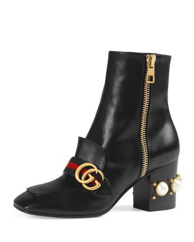 Gucci Peyton Pearly-Heel Ankle Boot, Black