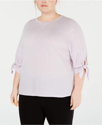 50160fa81 Calvin Klein Plus Size Tie-Sleeve High-Low Hem Top