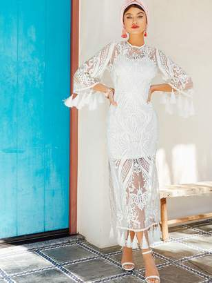 Shein Tassel Trim Sheer Embroidery Mesh Overlay Split Dress