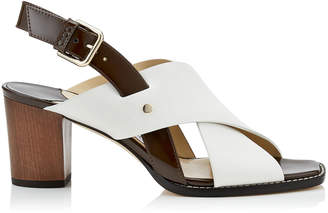 Jimmy Choo AIX 65 Latte Mix Vachetta Leather and Patent Strap Sandal