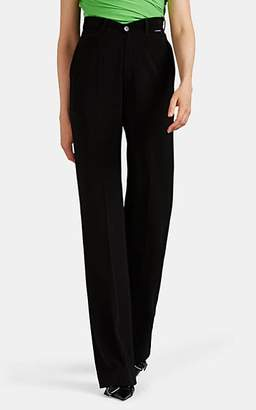 Balenciaga Women's V'd-Waist Fluid Crepe Wide-Leg Trousers - Black