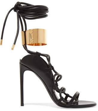 TOM FORD - Embellished Leather Sandals - Black $1,590 thestylecure.com