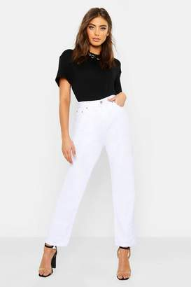 boohoo High Rise Straight Leg Jeans