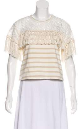 See by Chloe Fringe-Accented Short Sleeve Blouse