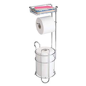 mDesign Freestanding Metal Wire Toilet Paper Roll Holder Stand and Dispenser with Storage Shelf for Cell