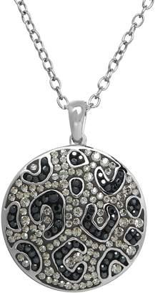 Swarovski Animal Planet Sterling Silver Crystal Snow Leopard Disc Pendant