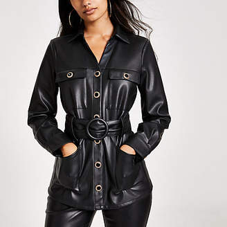 River Island Black faux leather long sleeve belted shirt