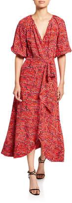 Saloni Olivia Printed V-Neck Cutout-Back Draped-Front Dress