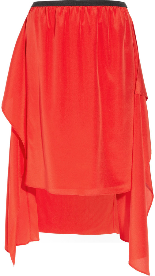 DKNY Draped stretch-silk skirt