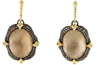 Armenta Smoky Quartz & Mother Of Pearl Doublet Diamond Drop Earrings