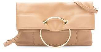 Sondra Roberts Foldover Ring Leather Clutch