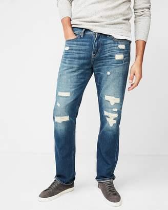 Express Slim Straight Light Wash Destroyed 100% Cotton Jeans