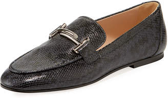 78d9504fdb0 Tod s Double T Python-Embossed Loafers