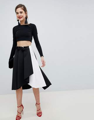 Asos DESIGN scuba prom skirt with wrap in mono color block
