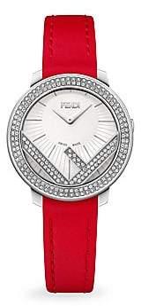 Fendi (フェンディ) - Fendi Fendi Run Away Stainless Steel& Diamond Leather-Strap Watch