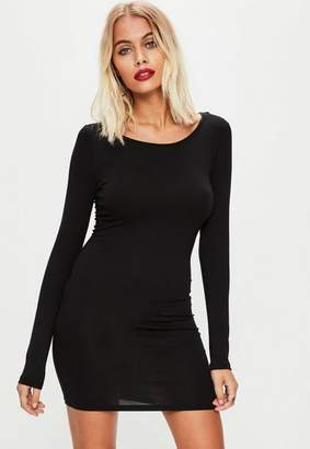 Missguided Black Long Sleeve Plain Jersey Bodycon Dress